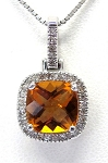 Ladies Citrine and Diamond Pendant