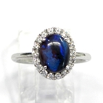 Ladies Black Opal and Diamond Ring