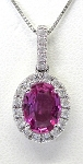 Ladies Pink Sapphire and Diamond Pendant