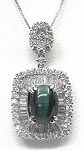 Ladies Green Cats Eye Diamond Pendant