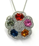 Ladies Gemstone and Diamond Pendant