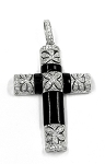 White Gold and Onyx Cross Pendant