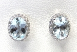 Ladies Diamond and Aquamarine Earrings