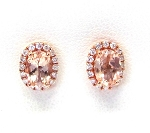 Ladies Diamond and Morganite Earrings