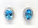 Ladies Diamond and Blue Topaz Earrings