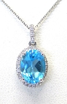 Ladies Topaz and Diamond Pendant