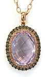 Ladies Brown Diamond and Gemstone Pendant