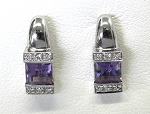 Ladies Diamond and Amethyst Earrings