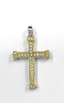 White Gold and Yellow Gold Diamond Cross Pendant
