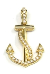 Yellow Gold Diamond Anchor With Cross Pendant