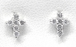 White Gold Diamond Cross Earrings