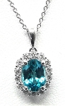 Ladies Blue Zircon And Diamond Pendant