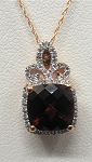 Ladies Garnet and Diamond Pendant