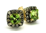 Ladies Brown Diamond and Peridot Earrings