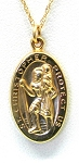 Yellow Gold St Christopher Medal Pendant