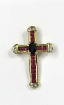 Yellow Gold Diamond And Gemstone Cross Pendant