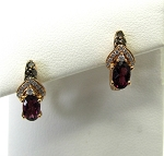 Ladies Diamond and Rhodolite Garnet Earrings
