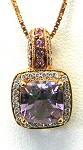 Ladies Amethyst And Diamond Pendant