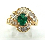 Ladies Diamond and Emerald Ring
