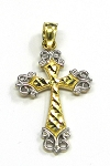 Yellow Gold and White Gold Cross Pendant
