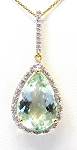 Ladies Green Amethyst and Diamond Pendant