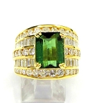 Ladies Green Tourmaline and Diamond Ring