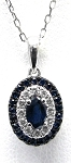 Ladies Blue Sapphire And Diamond Pendant