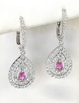 Ladies Diamond and Pink Sapphire Earrings