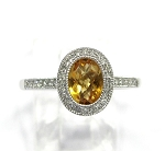 Ladies Citrine and Diamond Ring