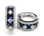 Ladies Diamond and Blue Sapphire Earrings