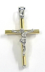 White and Yellow Gold Crucifix Cross Pendant