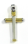 White Gold and Yellow Gold Cross Pendant