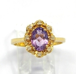 Ladies Amethyst and Diamond Ring