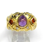 Ladies Amethyst Citrine and Diamond Ring
