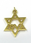 Yellow Gold Star Of David Love Pendant