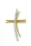 Yellow And White Gold Diamond Cross Pendant