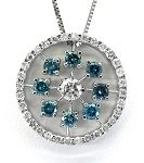 Ladies Custom Blue Diamond Pendant