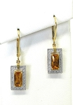 Ladies Diamond and Citrine Earrings