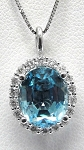 Ladies Aquamarine And Diamond Pendant