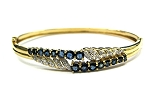 Ladies Gold Diamond Gemstone Bangle