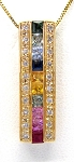 Ladies Multi-Color Sapphire and Diamond Pendant