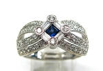 Ladies Diamond and Blue Sapphire Ring