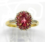 Ladies Pink Tourmaline and Diamond Ring