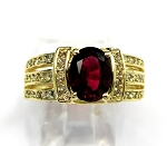 Ladies Rhodolite Garnet and Diamond Ring