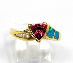 Ladies Pink Tourmaline Diamond and Opal Ring