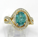 Ladies Blue Zircon and Diamond Ring