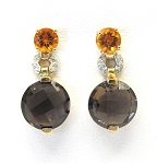 Ladies Diamond Citrine and Smoke Quartz Earrings