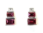 Ladies Diamond and Pink Tourmaline Earrings
