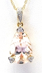 Ladies Morganite and Diamond Pendant