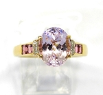 Ladies Kunzite Pink Tourmaline and Diamond Ring